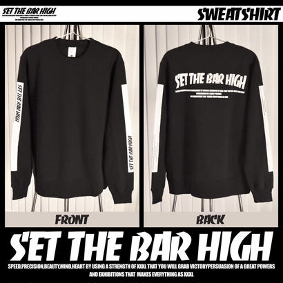 ''SET THE BAR HIGH''トレーナー WHITE LINE