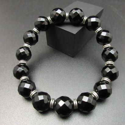 64面カットオニキス 12㎜ の護身ブレスレット 銀