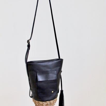 2017ss Lady's 籠x革 shoulder bag black