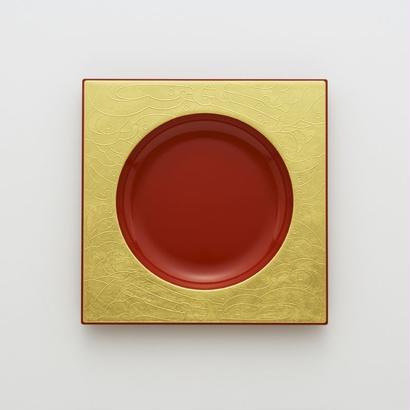 YOnoBI 漆&金沢箔プレート square 0 gold