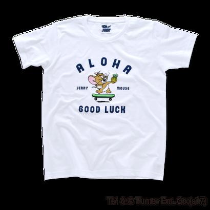 JERRY MOUSE ALOHA GOOD LUCK TEE【White】