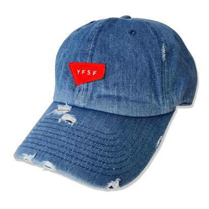 YFSF Patch Damage Cap【Medium Denim】