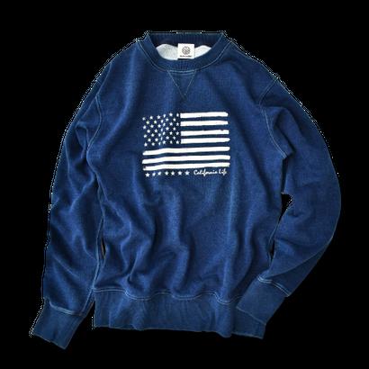【予約商品】The American flag crewneck sweatshirt【Indigo】