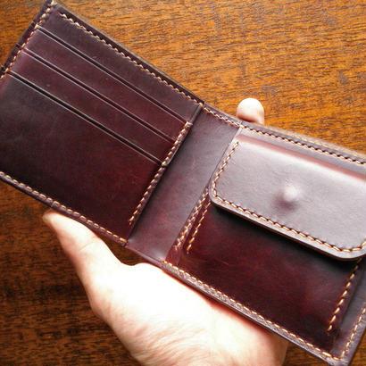HORWEEN クロムエクセル 二つ折り財布 小銭入れあり バーガンディ