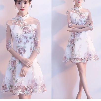 刺繍 チャイナドレス風ワンピース ハイネック 小さいサイズ