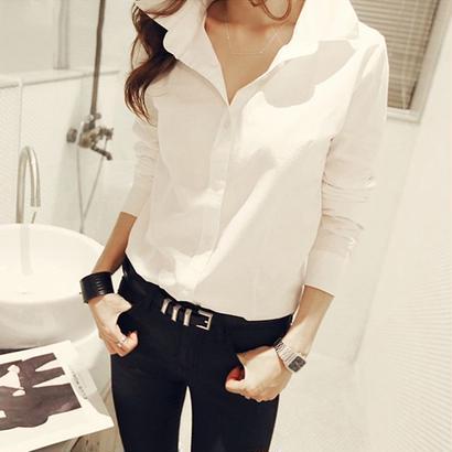 秋新作 シャツ chic 通勤 長袖 綿素材 小さいサイズ 全二色