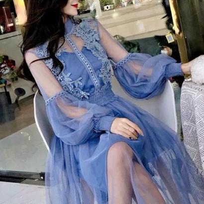 クラシック シフォン 花柄ワンピース シースルー バルーン袖 3カラー