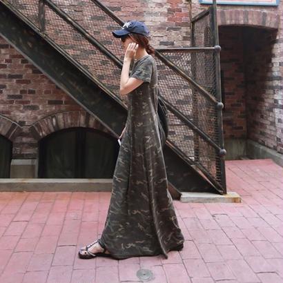 迷彩ワンピース 綿100% ロング丈 半袖 Tワンピース