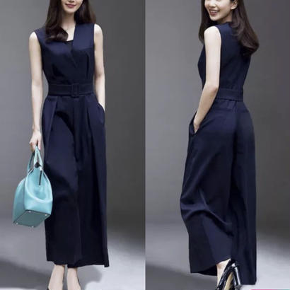 ベルトポイント ノースリーブオールインワン パンツドレス 2色