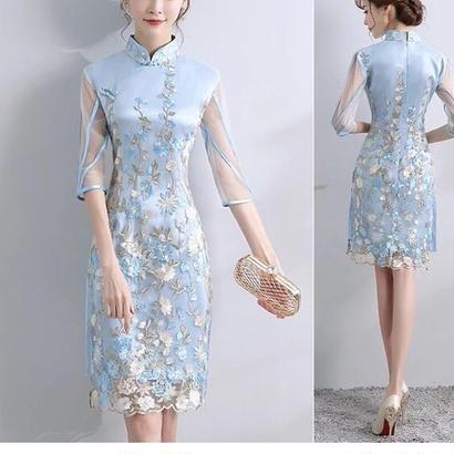 チャイナドレス ワンピース 刺繍 シースルー