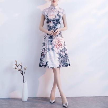 花柄刺繍 ハイネックチャイナドレス風 結婚式ワンピース