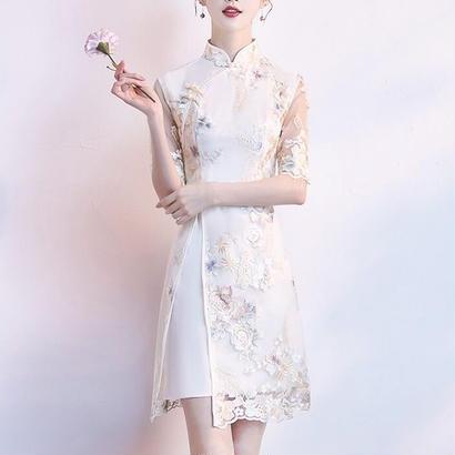 スリット入り 刺繍花柄 チャイナドレス風ワンピース 小さいサイズ有り