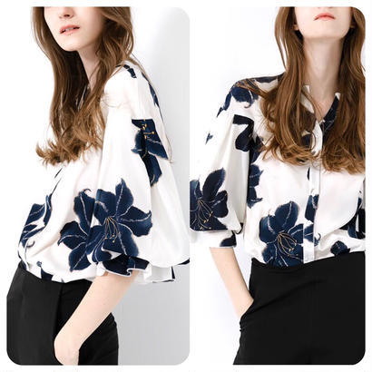 シフォンシャツ 七分袖 バルーンスリーブ フラワー 花柄