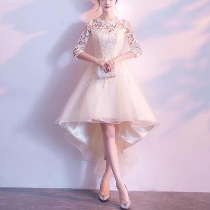 ドレス 結婚式ワンピース お呼ばれ レース フィッシュテール 2次会