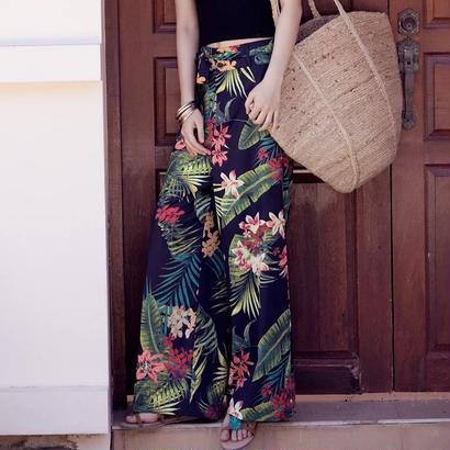 ボヘミアン風 ロング丈 ベルト付き ワイドパンツ 花柄 リゾート