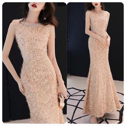 ロング丈ドレス フィッシュテール パーティー 披露宴 小さいサイズ有り