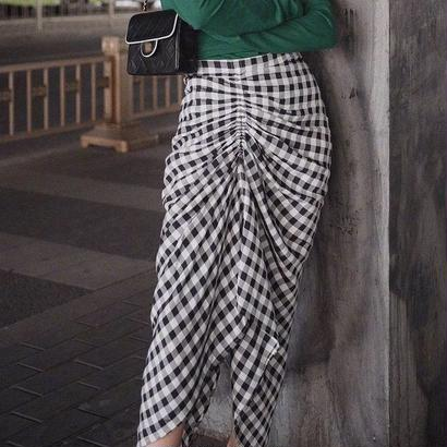 ギンガムチェック柄 不規則ロングスカート