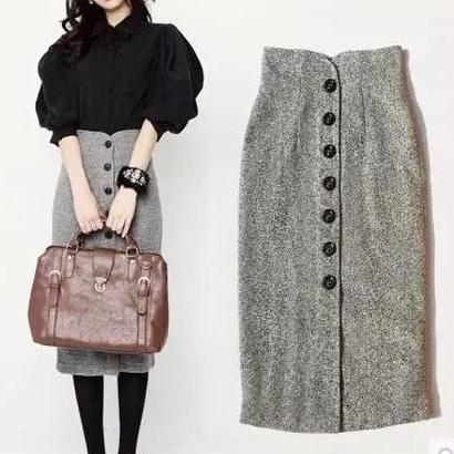 ハイウエスト フロントボタン ひざ丈スカート 秋冬ファッション