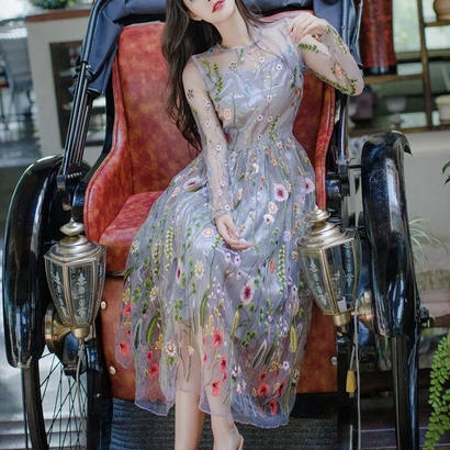 SALE# 刺繍 花柄マキシ丈ワンピース チュール シースルー 披露宴