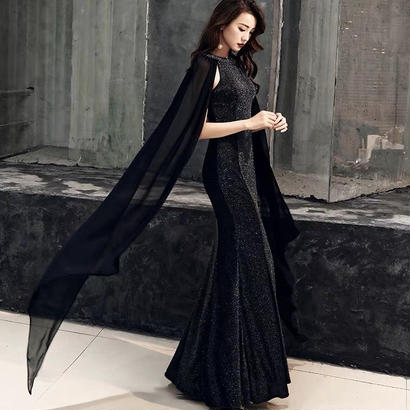 ロング丈 ブラック スパンコール フィッシュテール ノースリーブドレス