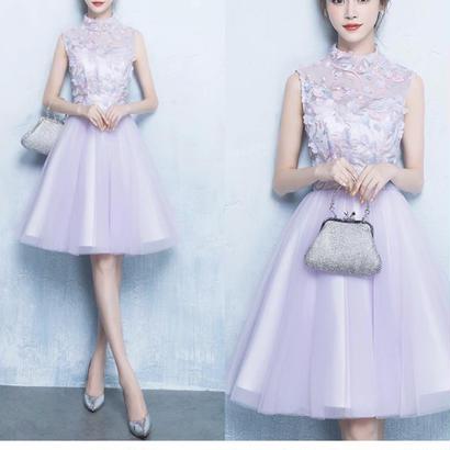 花柄刺繍 シースルー 結婚式ドレス チュールワンピース お呼ばれ