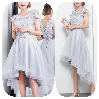 レース 刺繍ドレス フィッシュテール 結婚式ワンピース