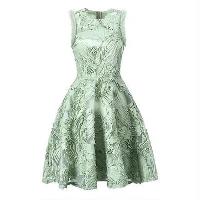 新作♡爽やか グリーンオーガンジーレイヤード風 フレアワンピース ドレス