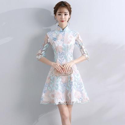 刺繍 チャイナドレス風 結婚式レースドレス ワンピース aライン