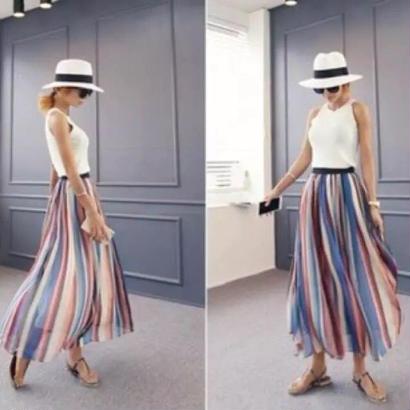 SALE# 在庫処分 カラフル トレンド ロング シフォンスカート