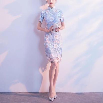 チャイナドレス風 ハイネック   花柄刺繍 レースワンピース