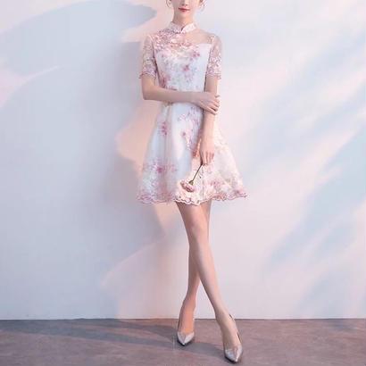 チャイナドレス風 パーティーワンピース 刺繍 花柄 シースルー