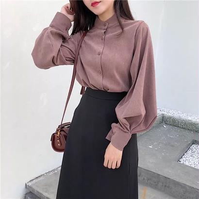 春 バルーン袖 シャツ 長袖 襟 カジュアル 2色