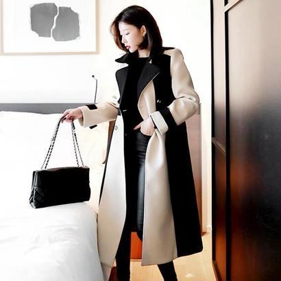バイカラー ロング丈コート かっこいい 大人女子 冬コーデ 配色 ベルト付き