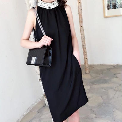 SALE# ビジュー シフォンワンピース ドレス 二色