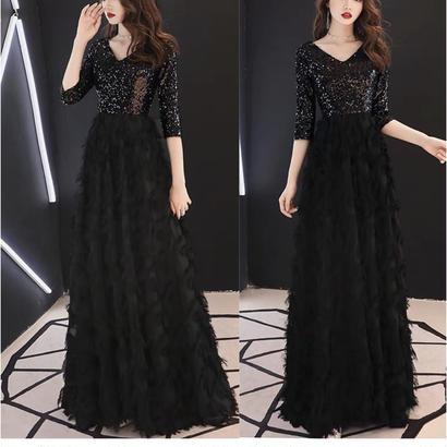 ロング丈ドレス 深V 異素材 パーティー 披露宴 小さいサイズ有