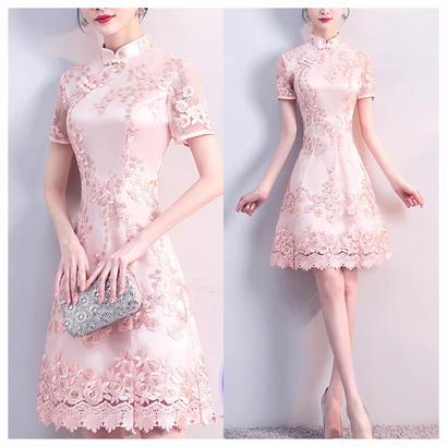 チャイナドレス風 ハイネック 花柄刺繍ワンピース パーティー
