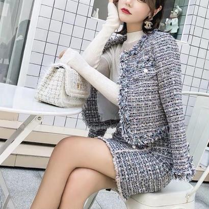 切り替え異素材 エレガント ミディアム丈ワンピース ツイードジャケットセット