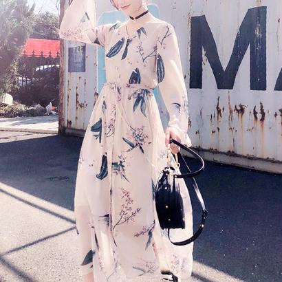 花柄刺繍 シフォンワンピース キャミ付き マキシ丈