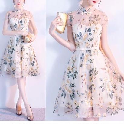 刺繍 チャイナドレス風 ワンピース 結婚式 ドレス リボン