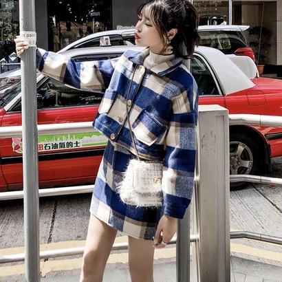 ミニスカートジャケットセット チェック 秋冬 ツーピース