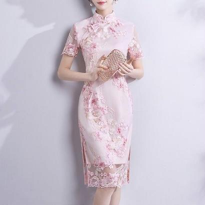 花柄刺繍 チャイナドレス風ワンピース シースルー  大人女性