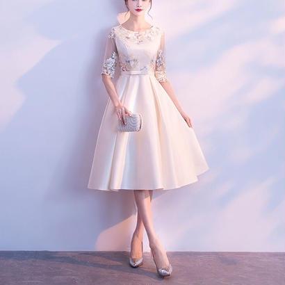 エレガント 結婚式パーティードレス 半袖 花柄刺繍オーガンジー