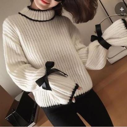 ♡キュート ハイネック 袖リボン ゆるフィットニットトップス