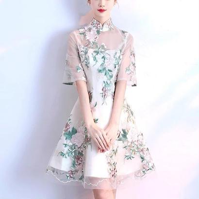 結婚式 チャイナドレス風 花柄刺繍 ハイネック シースルー