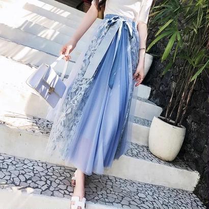 ロングチュールスカート 花柄 刺繍 Aライン 全四色