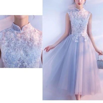 ハイネック 結婚式ドレス ビジュー 刺繍 チュールワンピース