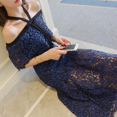 新作♡オフショルダー レース リボンミモレ丈ドレス 全2色