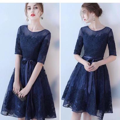 新作 ♡ドレス レースチュールワンピース 結婚式パーティー 5色
