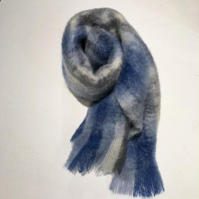 a point etc-   モヘア大判ストール (ブルー×ライトブルー×グレー×ホワイト)