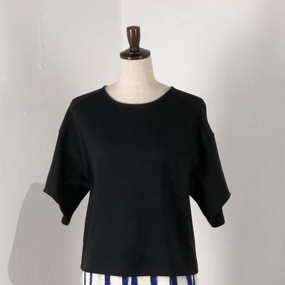 isato  デザインハーフスリーブカットソー  (ブラック)